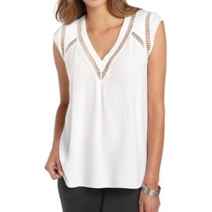 Rebecca Taylor White Woven Cut-Out V-Neck Top!